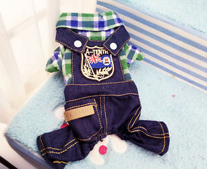 dog jeans jumpsuit puppy cat suspender four-legged overall jeans pants shorts