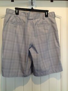 Men's Under Armour Golf  Flat Front Shorts Size 34 Gray Plaid 10