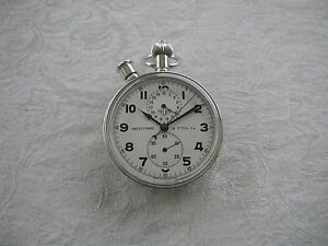 RARE HEUER SPLIT SECOND CHRONOGRAPH POCKET WATCH ABERCROMBIE & FITCH CO 1950's