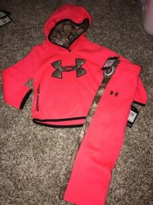 Under Armour Girls 2T Pink Chroma Hoodie And Pants Camouflage NWT