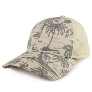 Tropical Floral Print Trucker Mesh Back Structured Baseball Cap  - FREE SHIPPING