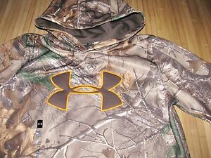 UNDER ARMOUR Storm HOODIE Fleece Size YXL Youth XL Camo REALTREE Camouflage NWT