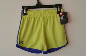 UNDER ARMOUR Toddler Girl 2T Summer Lime Green Purple Outdoor Play Shorts NWT