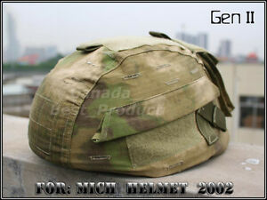 Airsoft Tactical MICH 2002 Nylon Helmet Cover With Back Pouch Multi color ATFG