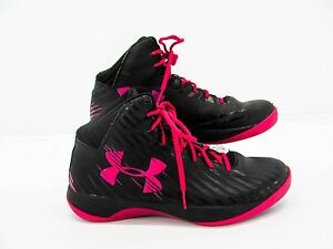Under Armour Women Black Hot Pink Basketball Sneaker Shoe 11M Pre Owned #AH