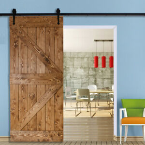 6-12FT Steel Sliding Barn Door Track Wood Closet Hardware Kit Set SingleDouble