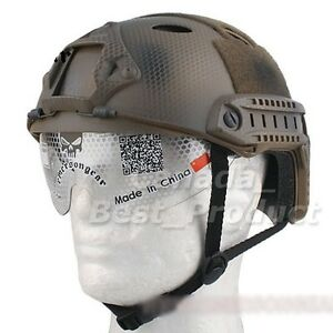 Airsoft Fast PJ Helmet w Eye Goggles NVG Mount Special Force Navy Seal Plate