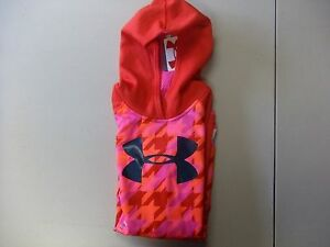 Under Armour Girl's Fleece Printed Big Logo Hoodie Pomegranate-size Youth XL