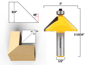 45 Degree Chamfer Edge Forming Router Bit - 1/2