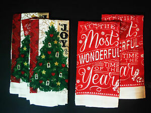 TOWEL SET CHRISTMAS TOWEL SET (2) VARIATION ''MOST WONDERFUL TIME OF THE YEAR''