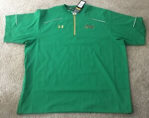 NWT TEAM ISSUED NOTRE DAME FOOTBALL UNDER ARMOUR 14 ZIP UP SHORT SLEEVE 2XL #65
