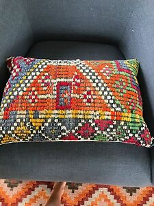 Turkish Kilim decorative pillow 14.5 in x 22.5 in.