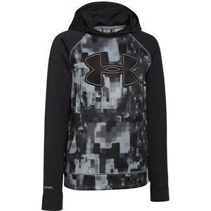UNDER ARMOUR BOYS' STORM ARMOUR FLEECE  BIG LOGO HOODIE BLACK YOUTH X SMALL