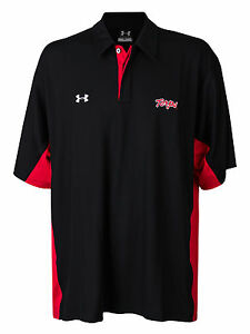 Men's Under Armour Maryland Terrapins Polo Button Shirt Black Athletic Sport XL