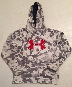 Under Armour Youth Hoodie Sweatshirt Size YMD Grey White Camo Red Logo