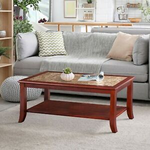 SLEEPLACE NEW Marble Top with Cherry Wood Coffee Table
