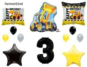 Third 3rd Birthday Party Balloons Construction Trucks Decoration Supplies...