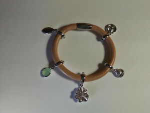 Leather Charm Bracelet w Sterling Silver Charms Unique Style!