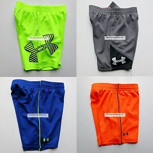 UNDER ARMOUR BOYS 2T SHORTS ~ 4 PAIRS NWT ~ YELLOW BLACK ORANGE GRAY
