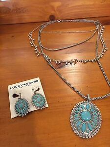 Lucky Brand turquoise necklace and earrings set