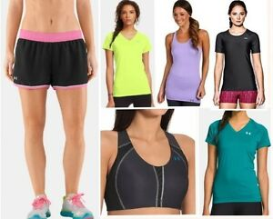 lot of 6 UNDER ARMOUR tops shirts tank high impact sport bra shorts womens large