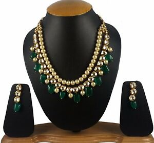 Stylish Kundan with Green Stone Pearl Necklace Set for Women and Girls-GCN662