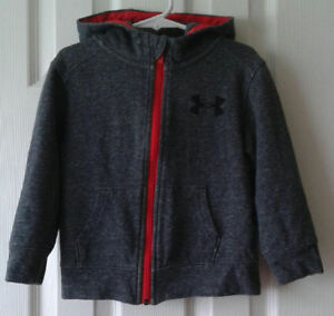 Under Armour Hoodie Sweatshirt Sweater Jacket Toddler Boys Size 3T Gray and Red