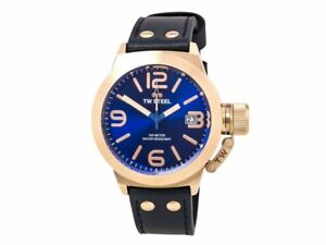 TW Steel CS61 Canteen Men's Blue Leather Bracelet With Blue Dial Watch NWT