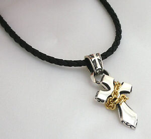 14K YELLOW GOLD TINY CROSS STERLING SILVER PENDANT MENS CHAIN LEATHER NECKLACE