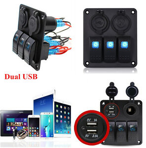 3Gang Blue LED Switch Panel Circuit Breaker Dual USB For RV Auto Car Marine Boat