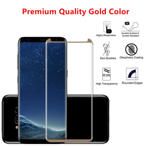 100 Lot Tempered Glass Screen Protector For Samsung Galaxy (S8 PLUS) Gold