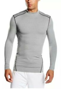 Under Armour UA Men ColdGear Compression Long Sleeve Mock Shirt Grey Size Medium