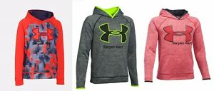 UNDER ARMOUR BOYS YOUTH SMALL ~ 3 HOODIE SWEATSHIRTS ~ RED ORANGE BLACK $150
