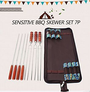New Beautiful Cased Heavy Duty Stainless Steel Wooden Handle Barbecue Skewer 7PC