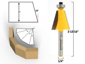 15 Degree Chamfer Edge Forming Router Bit - 1/4