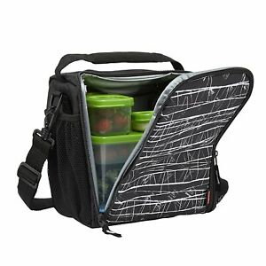 Rubbermaid Lunch Blox Lunch Bag Medium Black Dishwasher Safe Pack Of 2