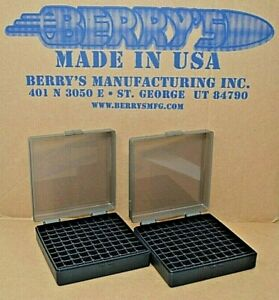 (2) 9 MM  380 AMMO BOXES  STORAGE (SMOKE COLOR) BERRY MFG