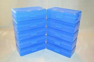 9mm  380 BERRY AMMO BOXES OF 50 rd. plastic storage each box (10-Pack Blue)