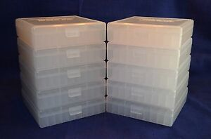 (10) 45 ACP  40 CAL  10 MM  100 ROUND PLASTIC AMMO BOXES (CLEAR)
