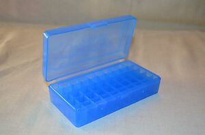 45 ACP  40 cal  10 mm (15) x NEW 50 ROUND PLASTIC AMMO BOXES (BLUE)