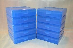 45  40  10 MM  100 ROUND PLASTIC AMMO BOXES (10-Pack BLUE) MADE IN THE USA