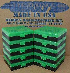 (10) 9 MM  380 AMMO BOXES  STORAGE (ZOMBIE GREEN COLOR) BERRY MFG