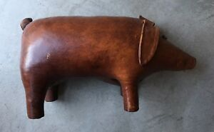 Vintage 50s 60s Leather Pig Ottoman Patina! Omersa For Abercrombie