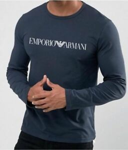 EMPORIO ARMANI Men's Long sleeve T-shirtMarine Blue - Size M*L*XL