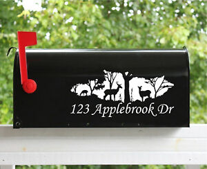 Set of 2 5quot; x 11quot; Custom Whitetail Deer Mailbox Decals Stickers Street Name