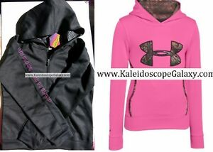 UNDER ARMOUR GIRLS HOODIE SWEATSHIRTS ~ SIZE LARGE ~NEW ~ BLACK PINK $110