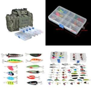 Assortment 5 Fishing Tackle Boxes Loaded 60 Fishing Lure Spinners Spoons KIT New