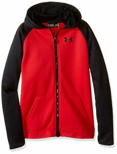 Under Armour Boys' Storm Armour Fleece Full Zip Hoodie RedBlack Youth Large