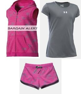 UNDER ARMOUR SHORTS ~ HOODIE VEST ~ TOP ~ PINK & GRAY SWEAT SHORTS ~ $113