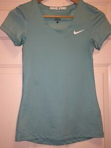 NIKE Pro Womens Dry Fit Short Sleeve V Neck T Shirt Turquoise Workout - Small